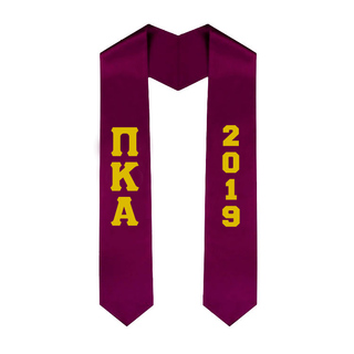 Pi Kappa Alpha Greek Lettered Graduation Sash Stole With Year - Best Value