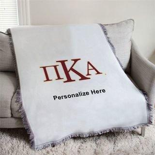 Pi Kappa Alpha Greek Letters Afghan Blanket Throw