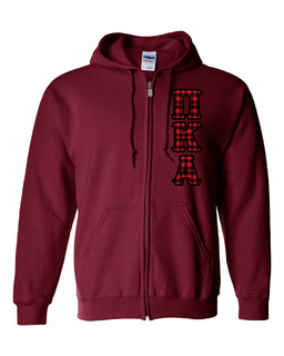 "Pi Kappa Alpha Heavy Full-Zip Hooded Sweatshirt - 3"" Letters!"
