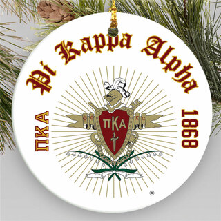 Pi Kappa Alpha Round Christmas Shield Ornament
