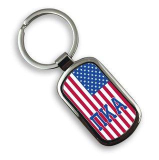 Pi Kappa Alpha USA Flag Rectangle Key Ring