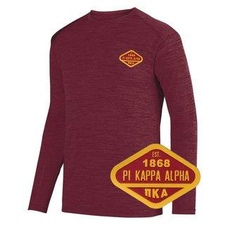 DISCOUNT-Pi Kappa Alpha Woven Emblem Greek Dry Fit Tonal Long Sleeve Tee