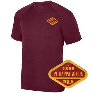 DISCOUNT-Pi Kappa Alpha Woven Emblem Greek Dry Fit Wicking Tee