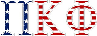 "Pi Kappa Phi American Flag Greek Letter Sticker - 2.5"" Tall"