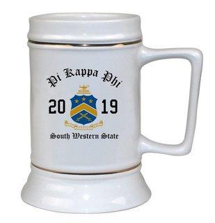 Pi Kappa Phi Ceramic Crest & Year Ceramic Stein Tankard - 28 ozs!