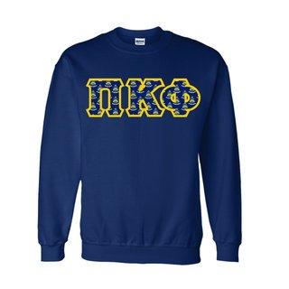 Pi Kappa Phi Fraternity Crest - Shield Twill Letter Crewneck Sweatshirt