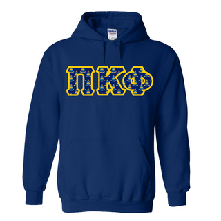 Pi Kappa Phi Fraternity Crest - Shield Twill Letter Hooded Sweatshirt