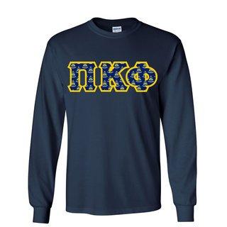 Pi Kappa Phi Fraternity Crest - Shield Twill Letter Longsleeve Tee