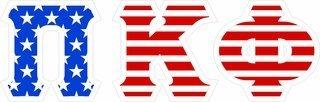 """Pi Kappa Phi Giant 4"""" American Flag Greek Letter Sticker"""