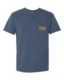 Pi Kappa Phi Greek Letter Comfort Colors Pocket Tee