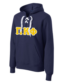 DISCOUNT-Pi Kappa Phi Lace Up Pullover Hooded Sweatshirt