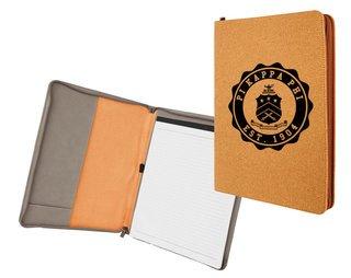 Pi Kappa Phi Leatherette Zipper Portfolio with Notepad