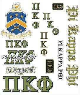 Pi Kappa Phi Multi Greek Decal Sticker Sheet