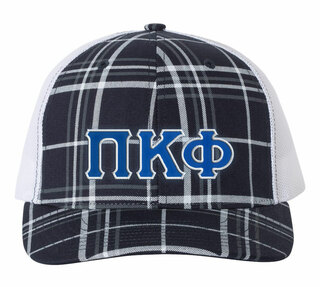 Pi Kappa Phi Plaid Snapback Trucker Hat - CLOSEOUT