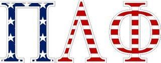 "Pi Lambda Phi American Flag Greek Letter Sticker - 2.5"" Tall"