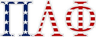 "Pi Lambda Phi American Flag Greek Letter Sticker - 2.5"" Tall"