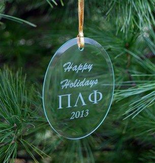 Pi Lambda Phi Greek Holiday Glass Ornaments