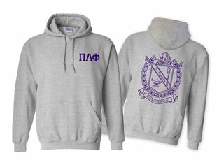 Pi Lambda Phi World Famous Crest - Shield Printed Hooded Sweatshirt- $35!