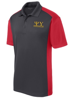 Psi Upsilon- $30 World Famous Greek Colorblock Wicking Polo