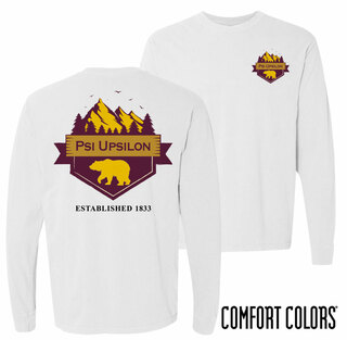 Psi Upsilon Big Bear Long Sleeve T-shirt - Comfort Colors