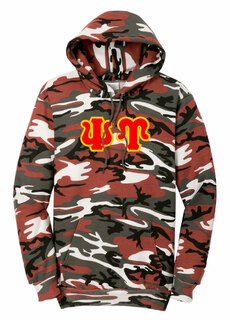 DISCOUNT-Psi Upsilon Camo Pullover Hooded Sweatshirt