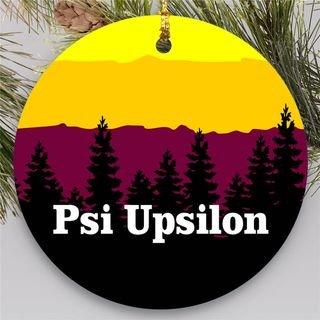 Psi Upsilon Christmas Mountains  Round Ornaments