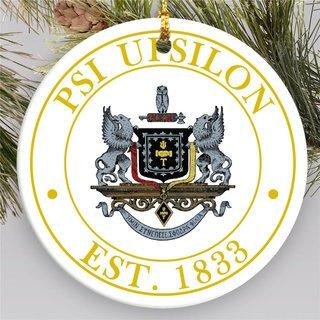 Psi Upsilon Circle Crest Round Ornaments