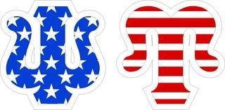"""Psi Upsilon Giant 4"""" American Flag Greek Letter Sticker"""