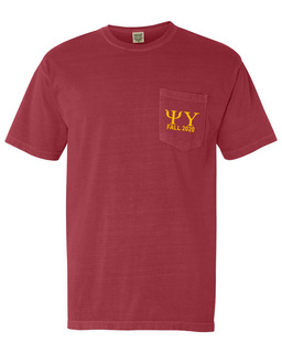 Psi Upsilon Greek Letter Comfort Colors Pocket Tee