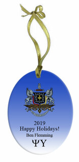 Psi Upsilon Holiday Color Crest - Shield Glass Ornament