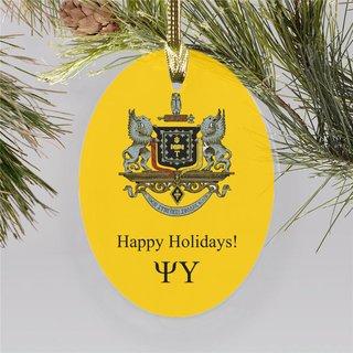 Psi Upsilon Holiday Color Crest - Shield Ornament