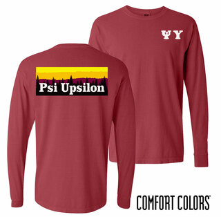 Psi Upsilon Outdoor Long Sleeve T-shirt - Comfort Colors