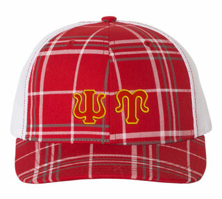 Psi Upsilon Plaid Snapback Trucker Hat
