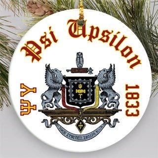 Psi Upsilon Round Christmas Shield Ornament