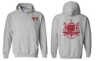Psi Upsilon World Famous Crest - Shield Printed Hooded Sweatshirt- $35!