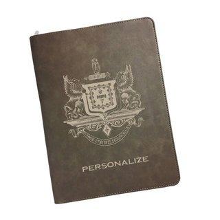 Psi Upsilon Zipper Leatherette Portfolio with Notepad