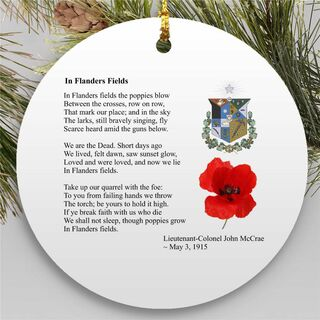 Remembrance Day Round Christmas Shield Ornament