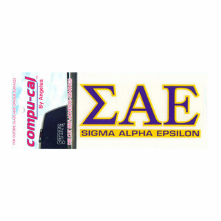 Sigma Alpha Epsilon Greek letters over Name Sticker