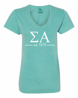 Sigma Alpha Comfort Colors Custom V-Neck T-Shirt