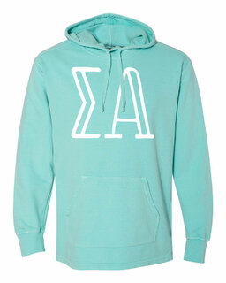 Sigma Alpha Comfort Colors - Terry Scuba Neck Greek Hooded Pullover