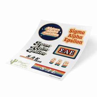 Sigma Alpha Epsilon 70's Sticker Sheet