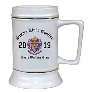 Sigma Alpha Epsilon Ceramic Crest & Year Ceramic Stein Tankard - 28 ozs!