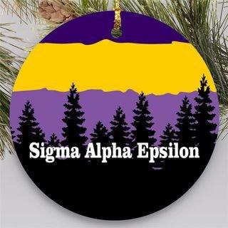 Sigma Alpha Epsilon Christmas Mountains Round Ornaments