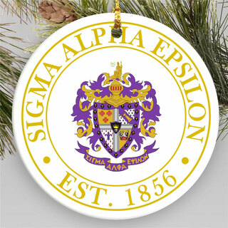 Sigma Alpha Epsilon Circle Crest Round Ornaments
