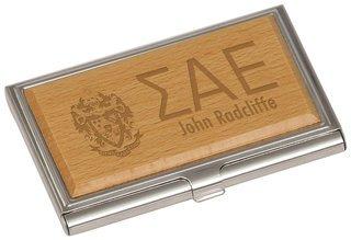 Sigma Alpha Epsilon Crest Wood Business Card Holder