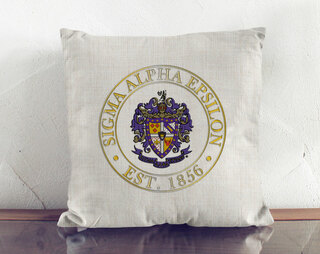 Sigma Alpha Epsilon Crest Linen Pillow