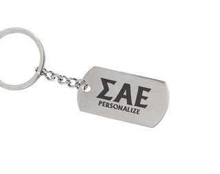 Sigma Alpha Epsilon Dog Tag Style Custom Keychain