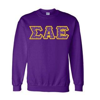 Sigma Alpha Epsilon Fraternity Crest - Shield Twill Letter Crewneck Sweatshirt