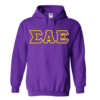Sigma Alpha Epsilon Fraternity Crest - Shield Twill Letter Hooded Sweatshirt