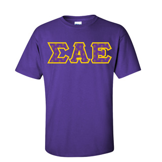 Sigma Alpha Epsilon Fraternity Crest - Shield Twill Letter Tee
